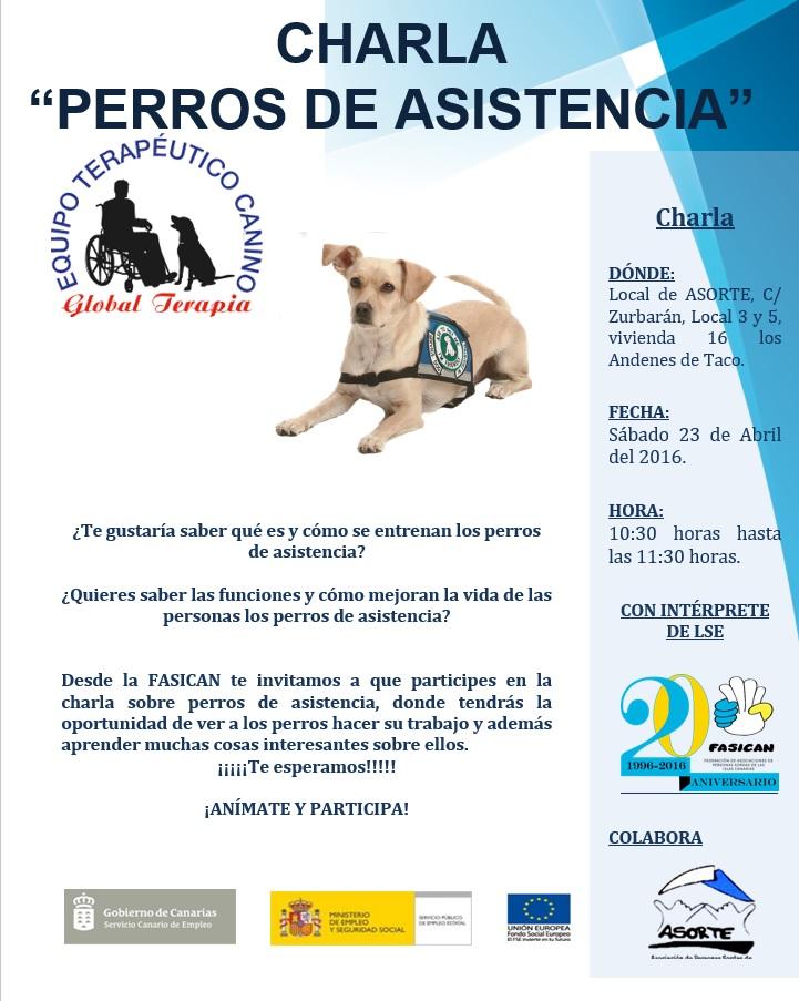Cartel charla perros de asistencia para la difusión