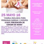 CHARLA PREVENCIÓN CÁNCER DE MAMA, 25 DE MAYO.