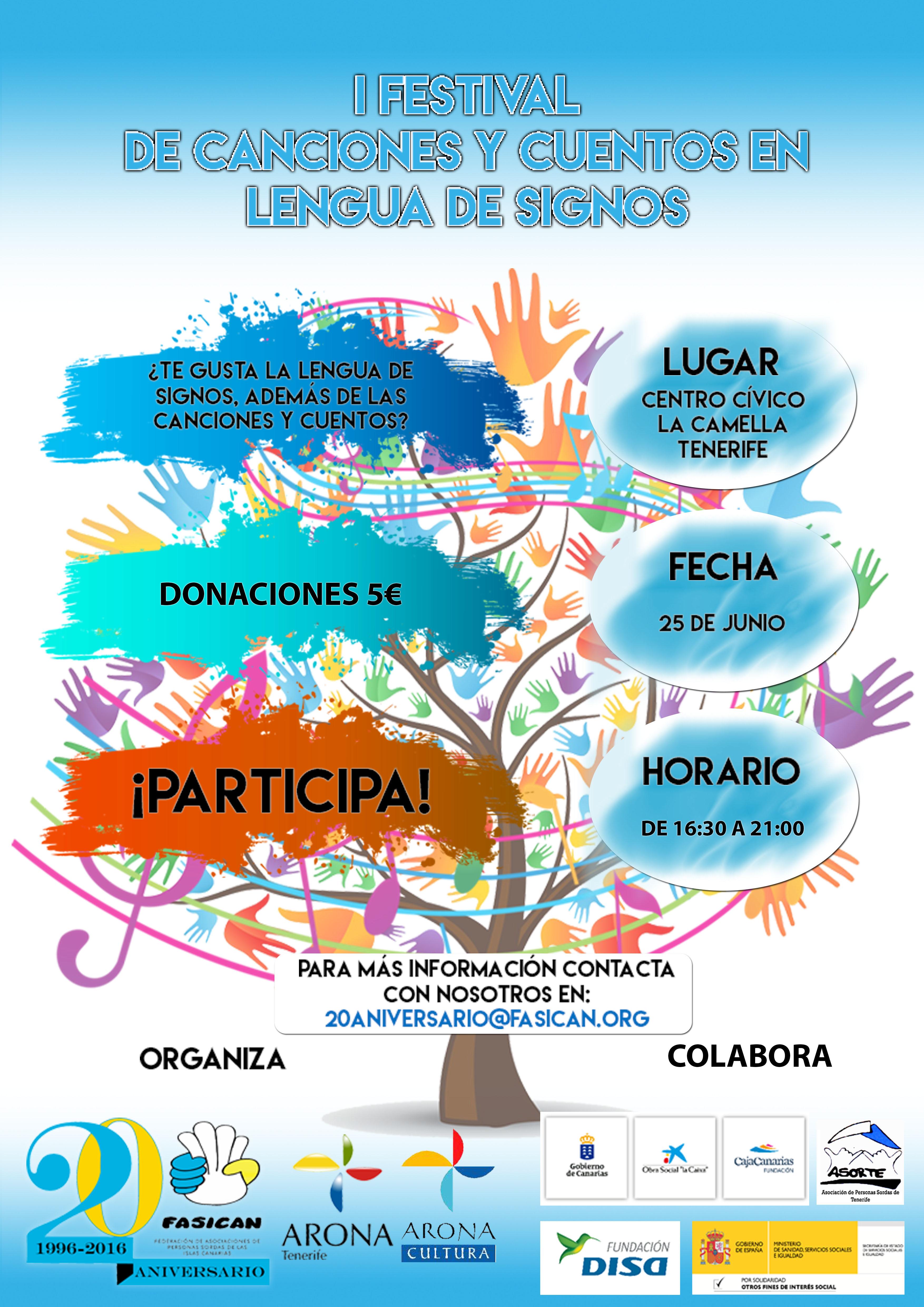 Cartel Festival de Canciones y Cuentos en Lengua de Signos definit
