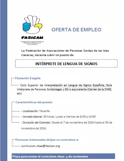 Oferta De Trabajo Intérprete De Lengua De Signos Española Fasican