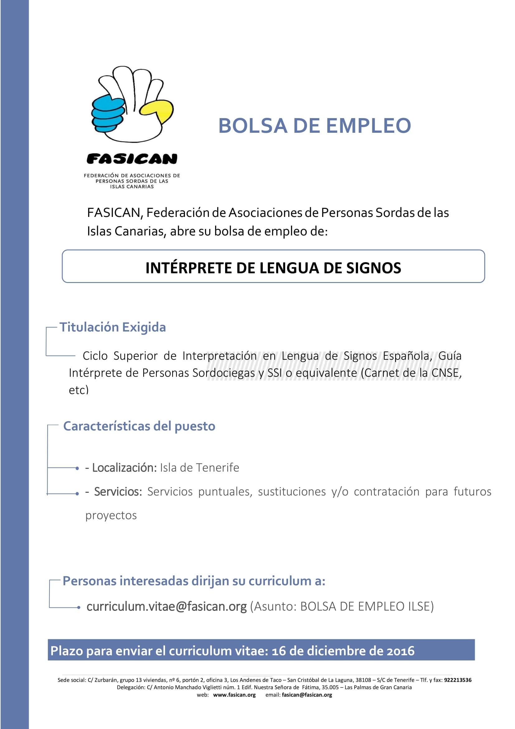BOLSA DE EMPLEO PARA INTÉRPRETES DE LENGUA DE SIGNOS. - FASICAN