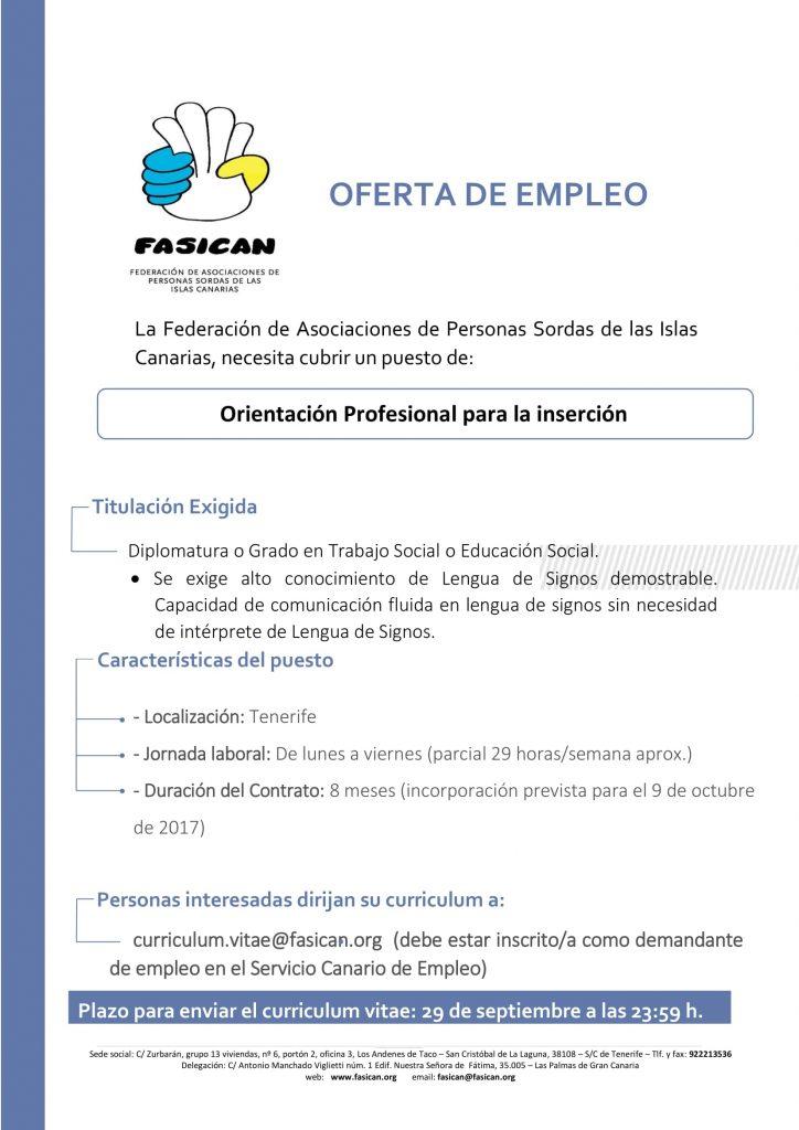 Oferta De Empleo Orientador Laboral Para Tenerife Fasican
