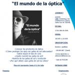 """II CHARLA – SENSIBILIDAD: """"EL MUNDO DE LA ÓPTICA"""""""