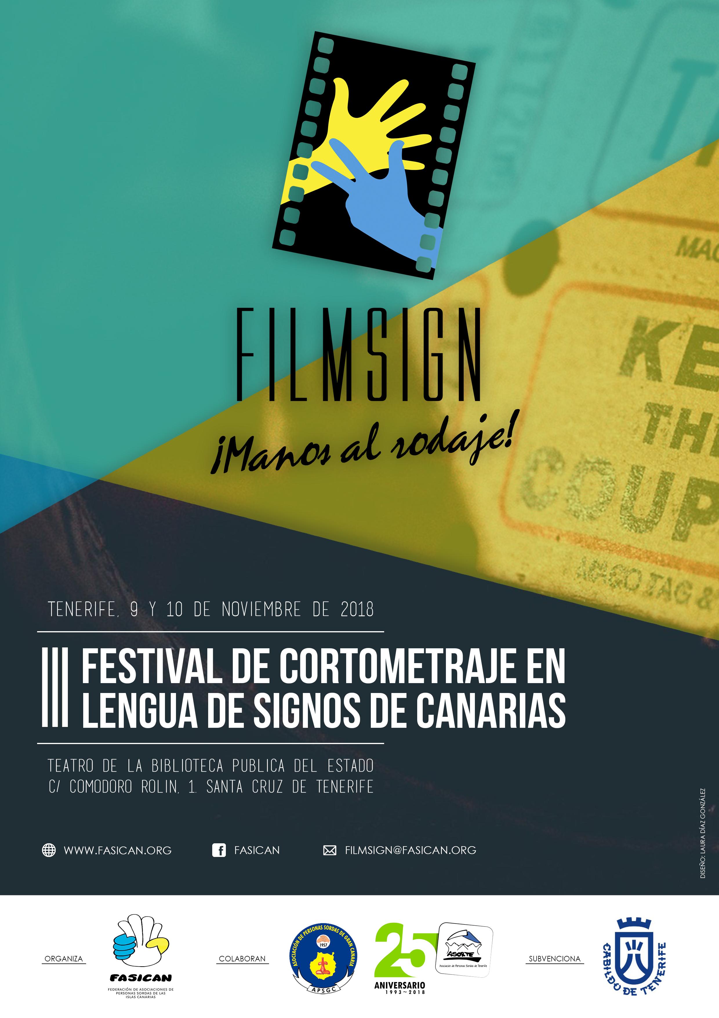 III Festival de Cortometraje en Lengua de Signos de Canarias - Santa Cruz de Tenerife, 9 y 10 nov'18  CARTEL_OFICIAL