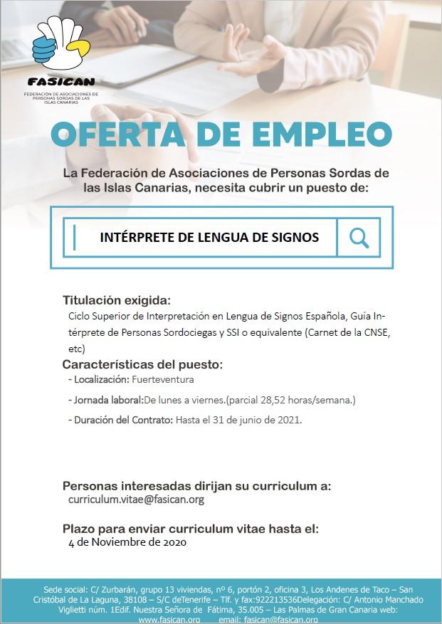 Oferta de empleo: Intérprete de Lengua de Signos