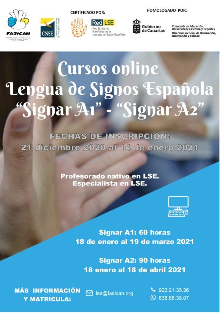 """Cursos online Lengua de Signos Española """"Signar A1"""" – """"Signar A2"""""""